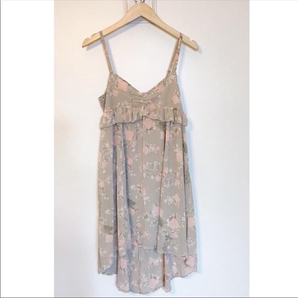 Frenchi Dresses & Skirts - Frenchi High Low Beige Floral Chiffon Dress